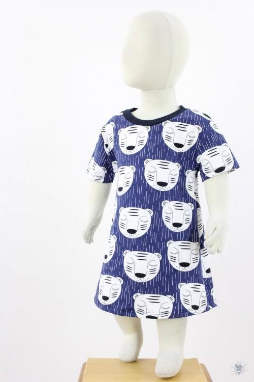 Kinderkleid aus Sommersweat mit schlafenden Tigern auf blau