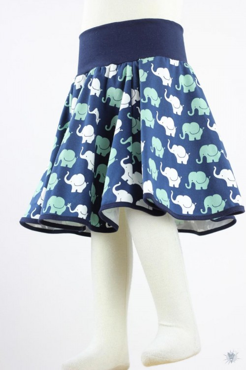 Kinder-Tellerrock mit Elefanten auf blau
