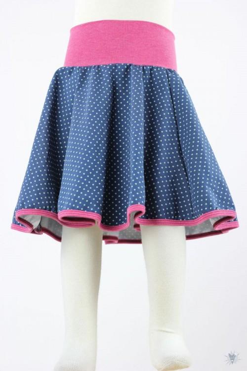 Kinder-Tellerrock mit türkisen Punkten auf dunkelblau