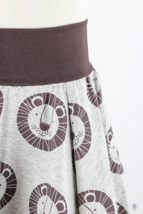 Kinder-Tellerrock mit braunen Löwen auf grau