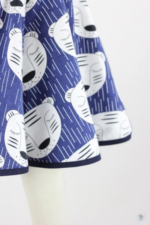 Kinder-Tellerrock mit schlafenden Tigern auf blau
