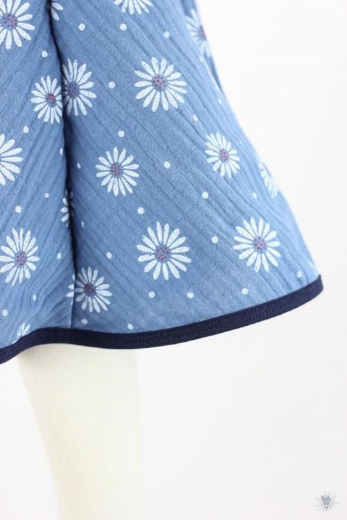 Kinder-Tellerrock Musselin, Blumen auf blau