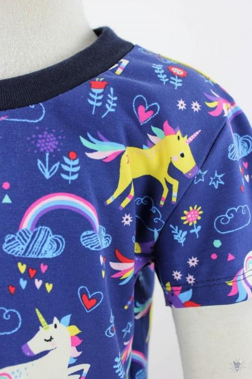 blaues Kinder-T-Shirt mit Einhörnern