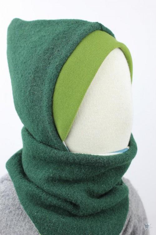Kinder-Wollmütze, wendbar, dunkelgrün mit grünen und blauen Streifen