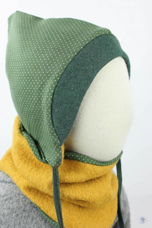 Kinder-Wollmütze, wendbar, gelb mit Punkten auf grün