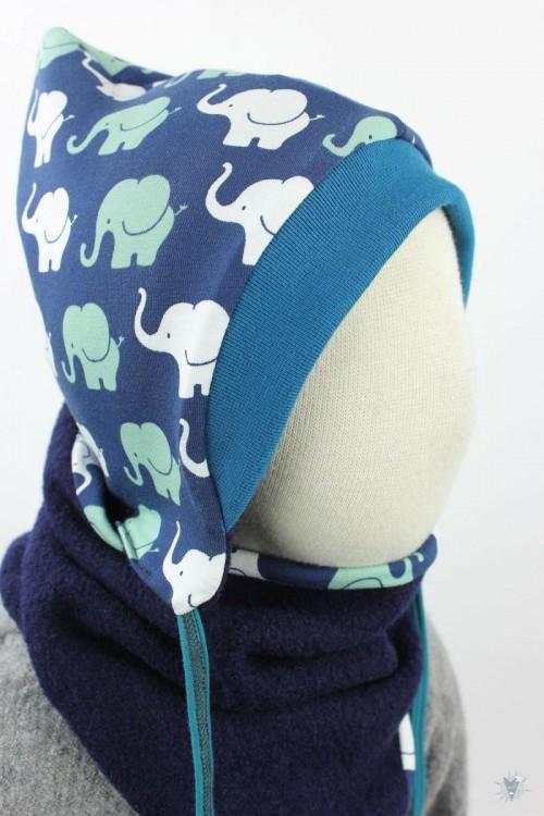 Kinder-Wollmütze, wendbar, marine mit Elefanten auf blau
