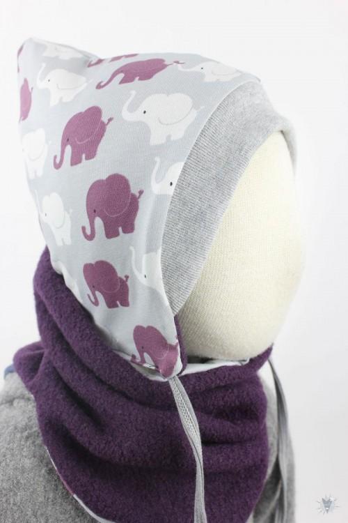 Kinder-Wollmütze, wendbar, lila mit Elefanten auf grau