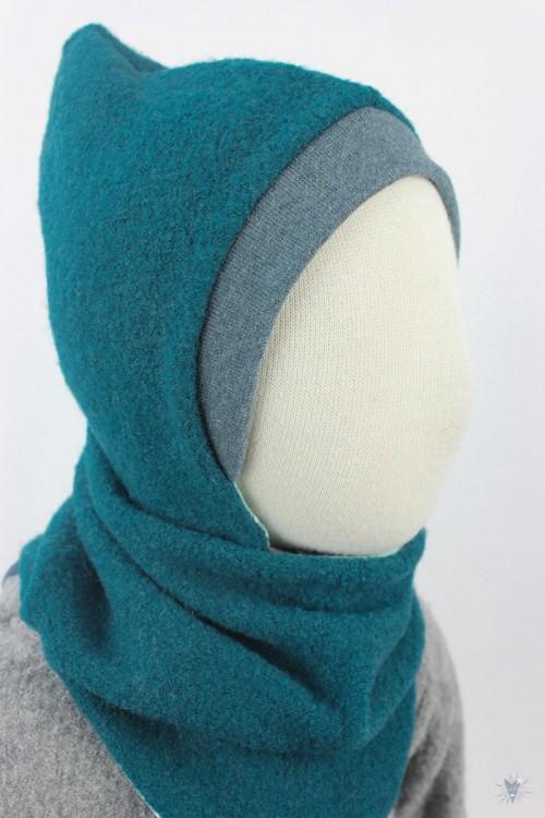 Kinder-Wollmütze, wendbar, smaragd mit Wintervögeln