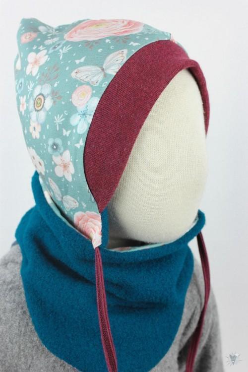 Kinder-Wollmütze, wendbar, petrol mit Vögeln und Rosen