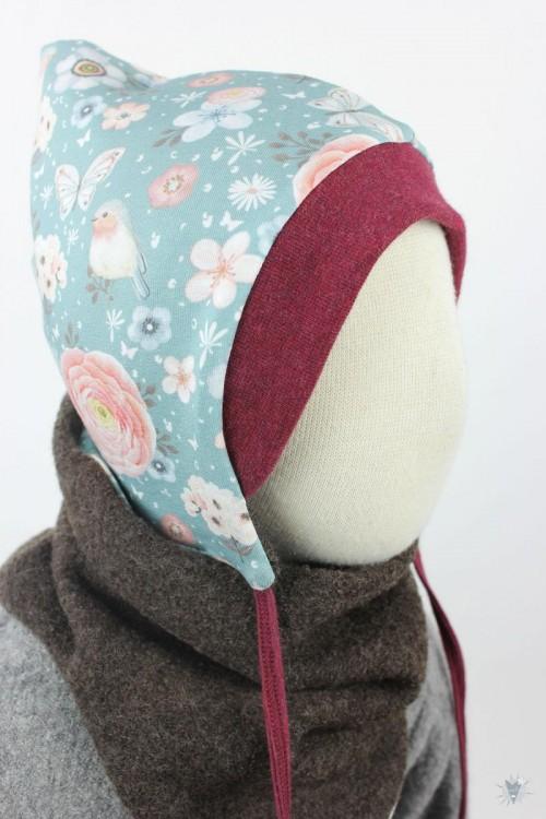 Kinder-Wollmütze, wendbar, braun mit Vögeln und Rosen