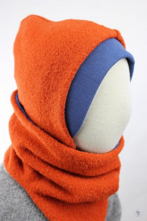 Kinder-Wollmütze, wendbar, orange mit Schwalben