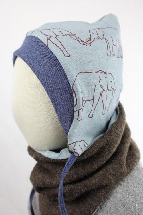 Kinder-Wollmütze, wendbar, braun mit Elefantenfamilie