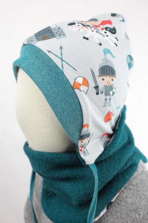 Kinder-Wollmütze, wendbar, smaragd mit kleinen Rittern