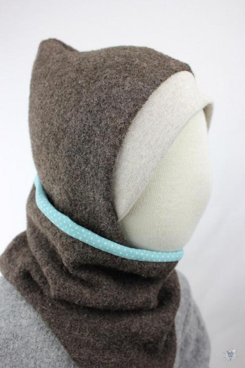 Kinder-Wollmütze, wendbar, braun mit mintfarbenen Punkten