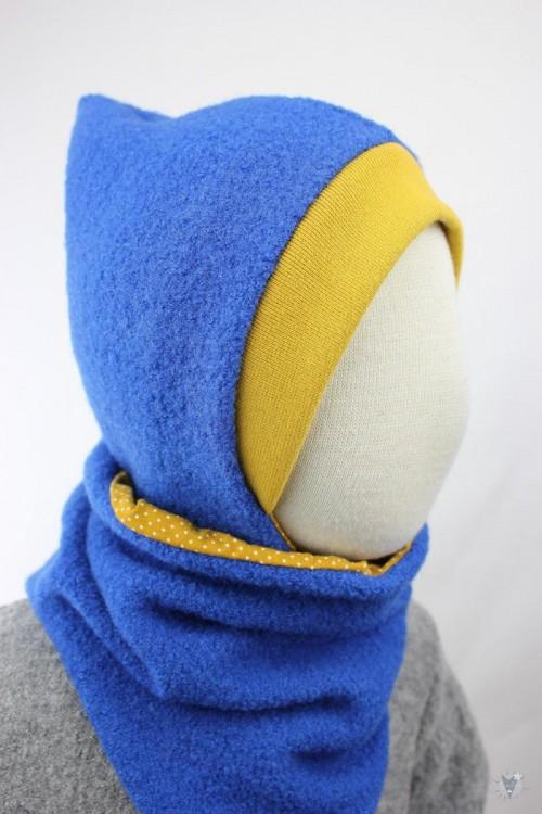 Kinder-Wollmütze, wendbar, royalblau mit Punkten auf gelb