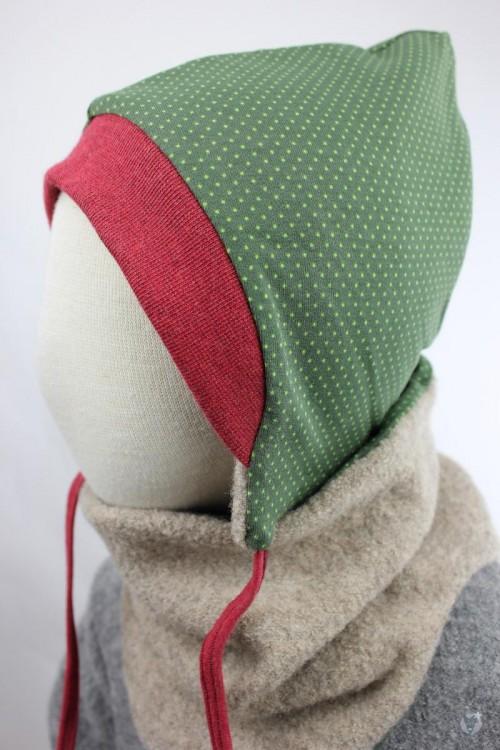 Kinder-Wollmütze, wendbar, beige mit grünen Punkten
