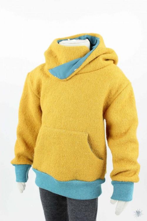 Kinder-Wollpulli mit Kapuze, gelb mit Libellen auf petrol