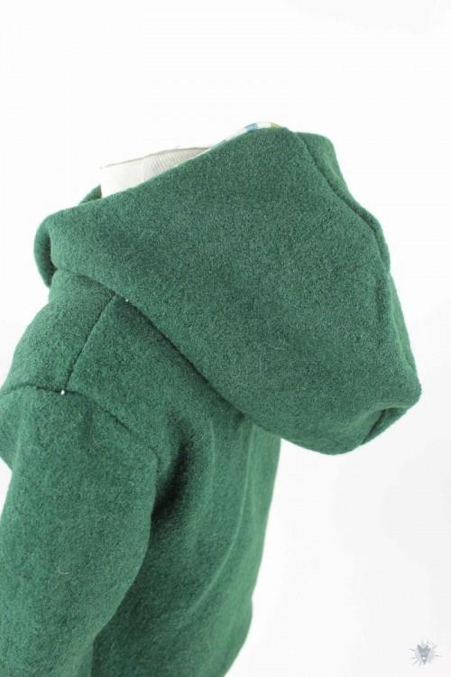 Kinder-Wollpulli mit Kapuze, dunkelgrün mit blauen und grünen Streifen
