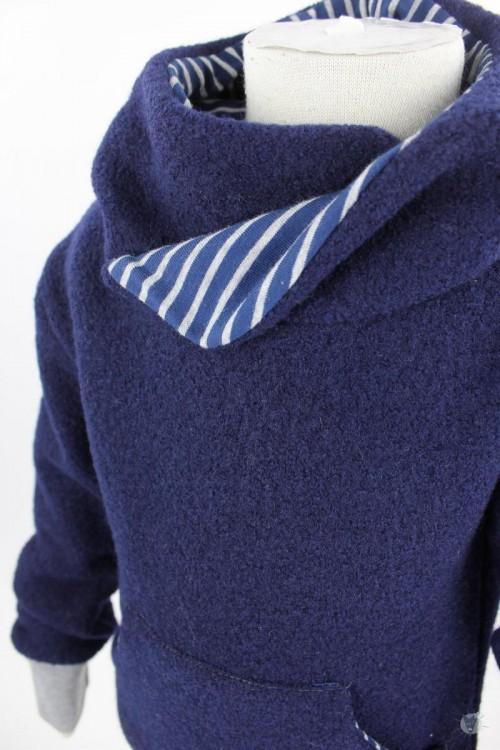 Kinder-Wollpulli mit Kapuze, marine mit blauen und grauen Streifen