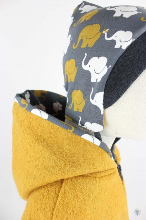 Kinder-Wolljacke gelb mit Elefanten auf grau, mit Kapuze