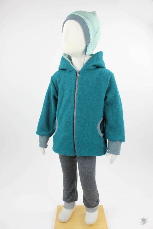 Kinder-Wolljacke smaragd mit Wintervögeln, mit Kapuze