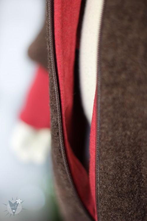 Kinder-Wollanzug braun mit rot, wächst mit