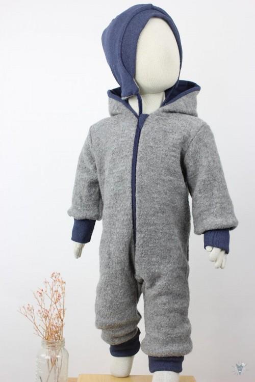 Kinder-Wollanzug hellgrau mit dunkelblau, wächst mit