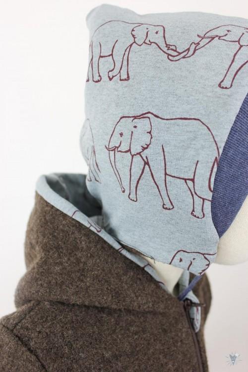 Kinder-Wollanzug braun mit Elefantenfamilie, wächst mit