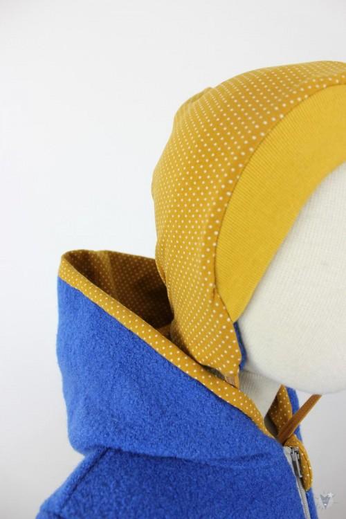 Kinder-Wollanzug royalblau mit Punkten auf gelb, wächst mit