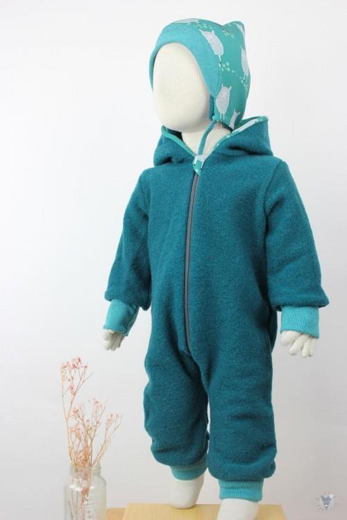 Kinder-Wollanzug smaragd mit Schafen, wächst mit