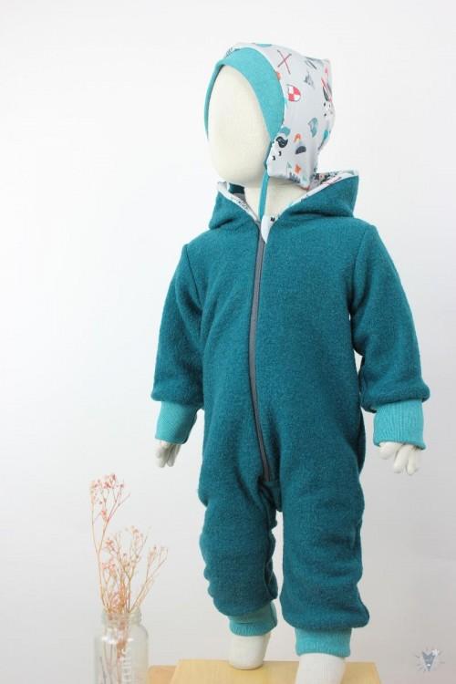 Kinder-Wollanzug smaragd mit kleinen Rittern, wächst mit