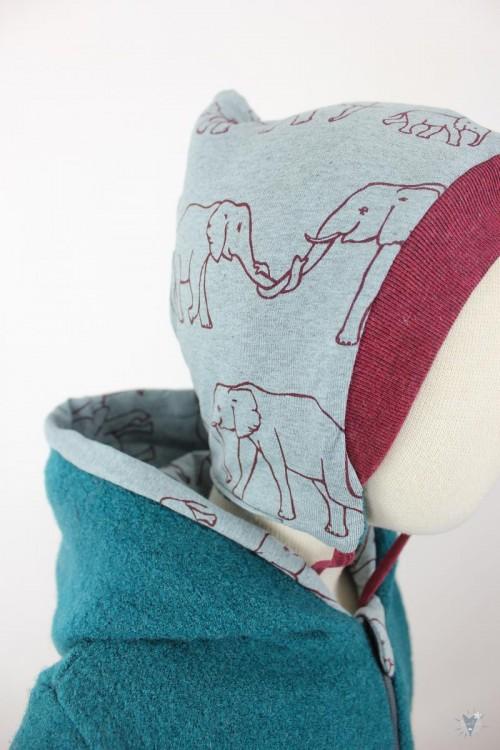 Kinder-Wollanzug smaragd, mit Elefantenfamilie, wächst mit