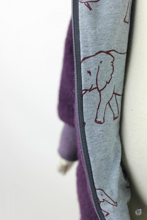 Kinder-Wollanzug lila mit Elefantenfamilie