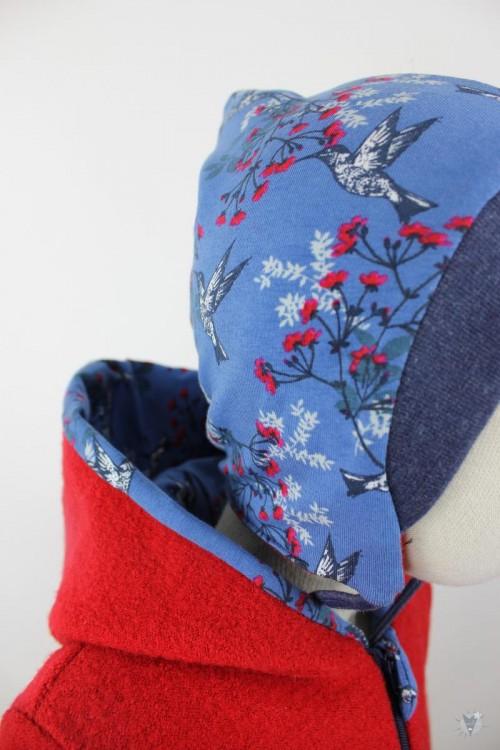 Kinder-Wollanzug rot mit Kolibris, wächst mit