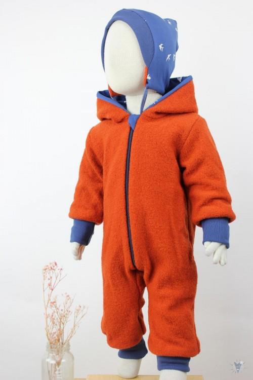 Kinder-Wollanzug orange mit Schwalben, wächst mit