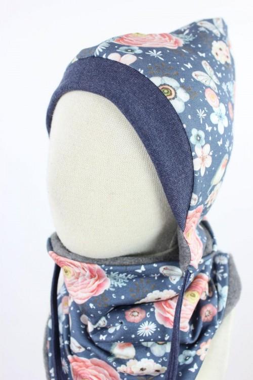 Kinder-Fleecemütze zum Wenden grau meliert mit Rosenvögeln auf blau