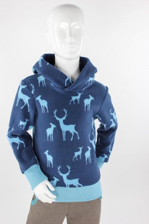 Kinder-Fleecepulli blau mit Waldtieren