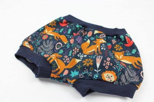 Höschen marineblau mit Mohnfüchsen