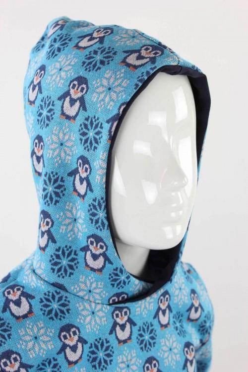 Kinder-Kapuzenpulli mit Pinguinen und Schneeflocken blau