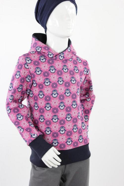 Kinder-Kapuzenpulli mit Pinguinen und Schneeflocken pink
