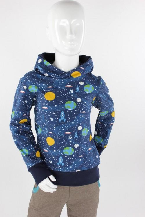 Kinder-Kapuzenpulli blau Weltraumreise