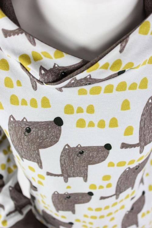 Kinder-Kapuzenpulli naturweiß mit Hunden