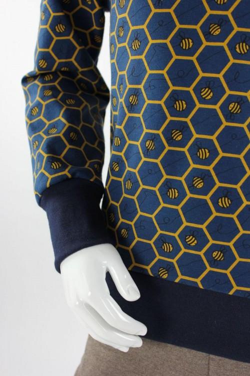 Kinder-Kapuzenpulli marineblau mit Bienenwaben