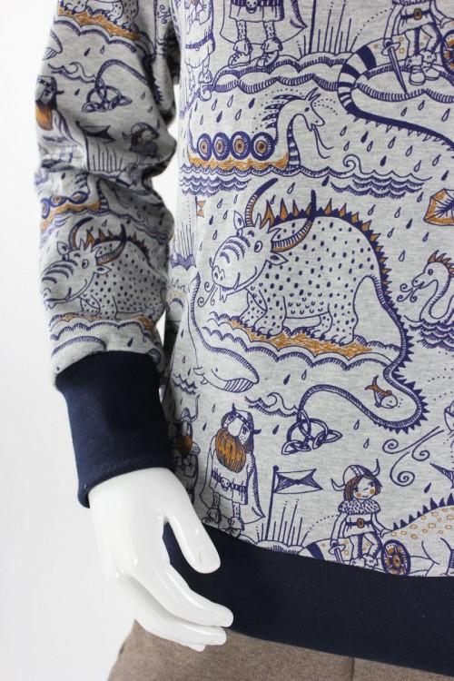 Kinder-Kapuzenpulli grau mit Wikingern und Drachen