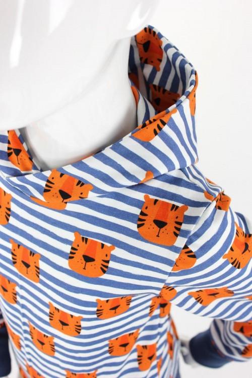 Kinder-Kapuzenpulli blau weiß gestreift mit Tigern