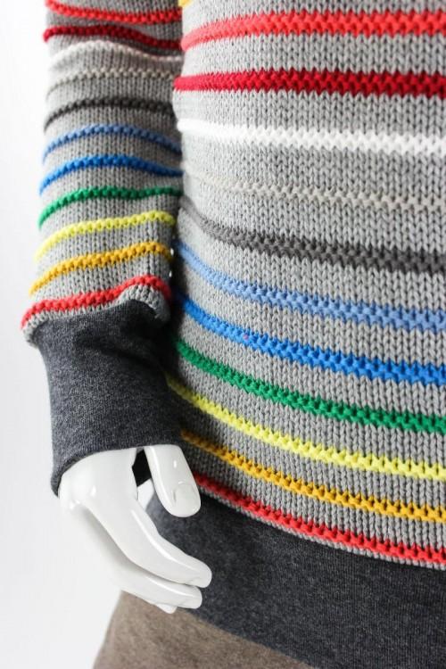 gestreifter Kinder-Strickpulli aus Bio-Baumwollstrick