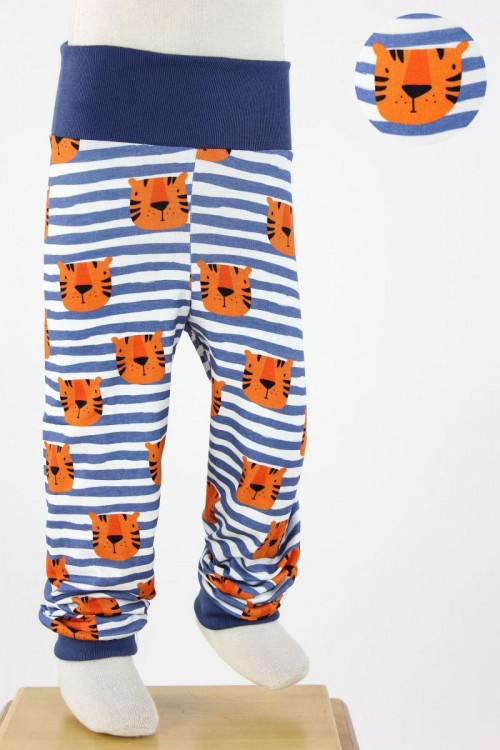 Kinder-Leggings weiß blau gestreift mit Tigern