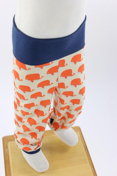 Kinder-Leggings beige mit Walen in orange