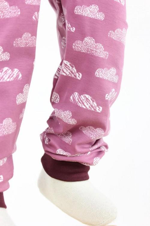 Kinder-Leggings rosa mit Wolken Bio-Stoffe