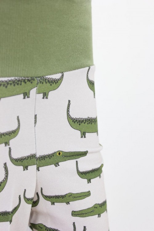Kinder-Leggings weiß mit Krokodilen Bio-Stoffe